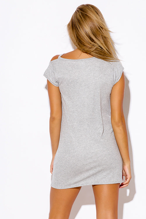 Boyfriend Tee Shirt Tunic Mini Dress - Gray