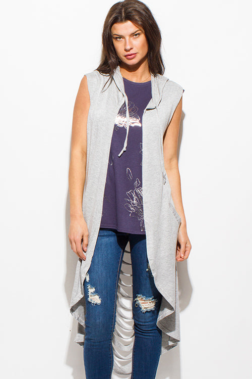 Sharkbite Hooded Open Front Duster Cardigan - Heather Gray
