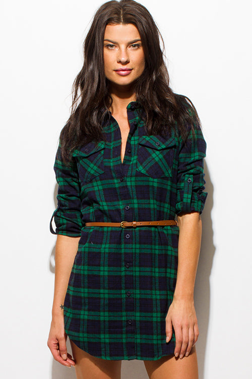 Arrowhead Long Sleeve Belted Tunic Mini Shirt Dress - Hunter Green