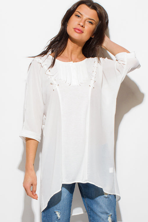 New Wish Half Dolman Sleeve High Low Hem Boho Resort Tunic Blouse Top - Ivory White
