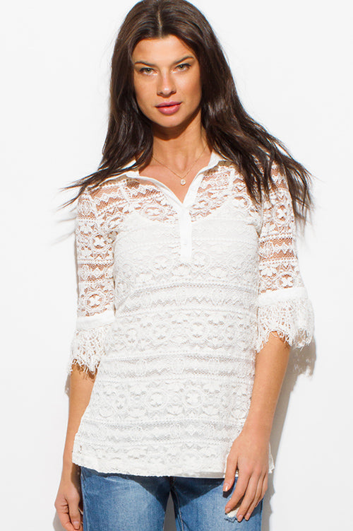 Fiesta Half Sleeve Button Up Boho Blouse Top - Ivory White