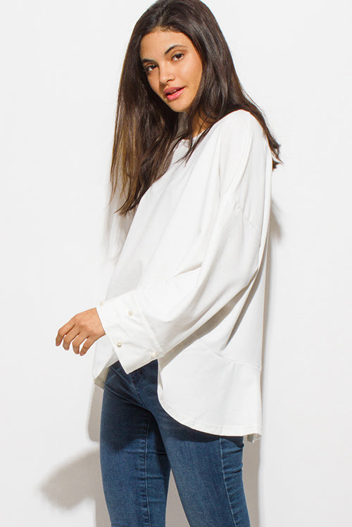 Coco Faux Long Bell Sleeve Boho Party Oversized Knit Top - Ivory White