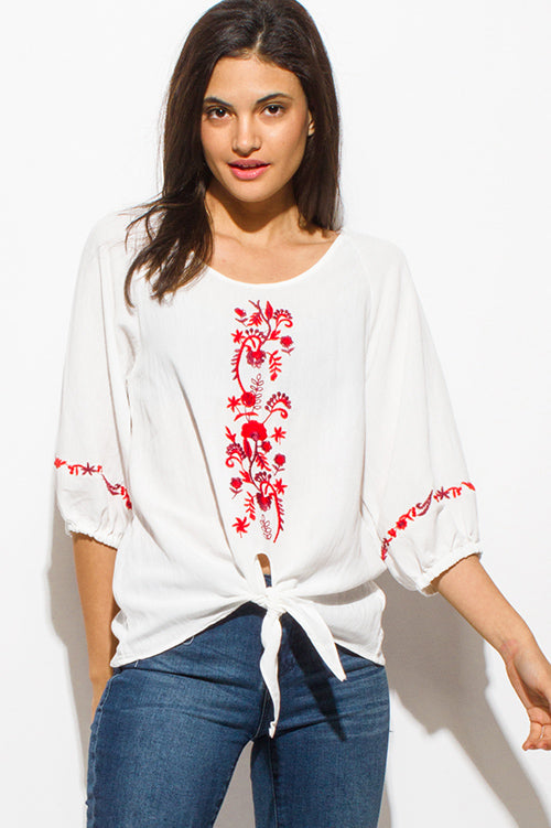 Carmen Quarter Sleeve Front Tie Hem Boho Peasant Top - Ivory White Red