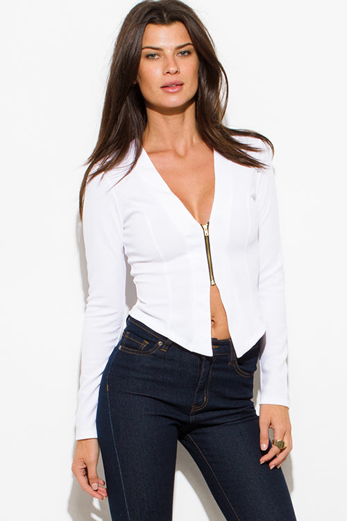 Perfect Lines Asymmetrical Hem Zip Up Fitted Jacket Top - Ivory White
