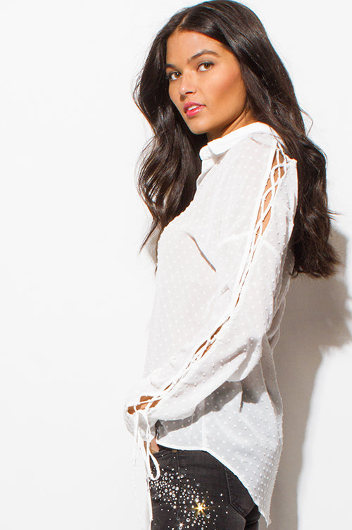 Crushin On You Long Sleeve Button Up Blouse Top - Ivory White