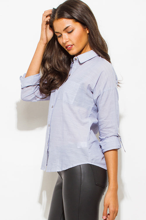 Problem Was You Quarter Sleeve Button Up Blouse Top - Light Blue