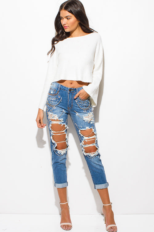 New Girl In Town Embellished Bejeweled Boho Boyfriend Jeans - Light Blue Washed