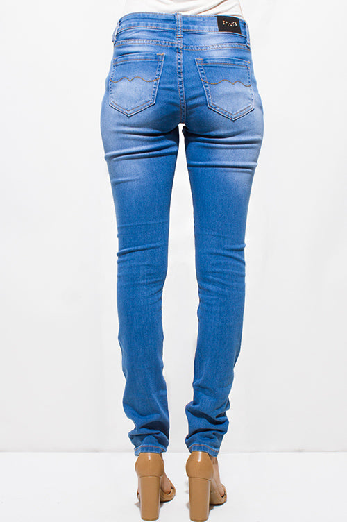 Karina Distressed Fitted Skinny Jeans - Light Blue Washed Denim