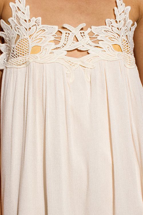 Hartley Boho Party Mini Sun Dress - Light Peach