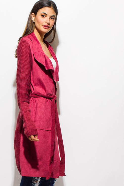 Warm Hues Tie Waist Duster Cardigan Coat Jacket - Marron Red