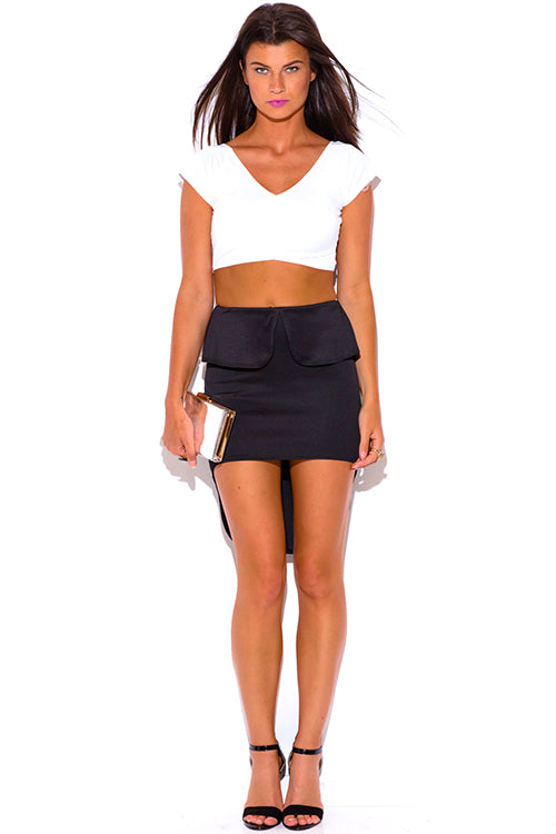 Born Bombshell High Low Fitted Pencil Skirt - Black