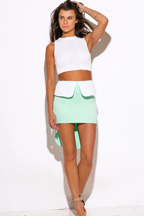 Born Bombshell High Low Peplum Scuba Pencil Mini Skirt - Mint Green