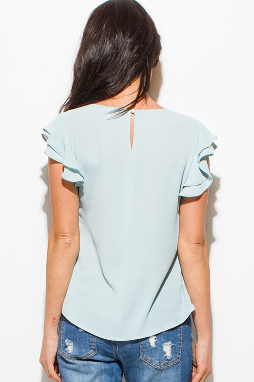 Soft Serve Short Sleeve Keyhole Back Boho Blouse Top - Green