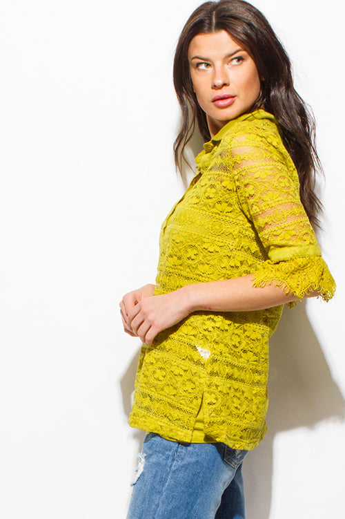 Fiesta Crochet Lace Half Sleeve Button Up Boho Blouse Top - Mustard Green