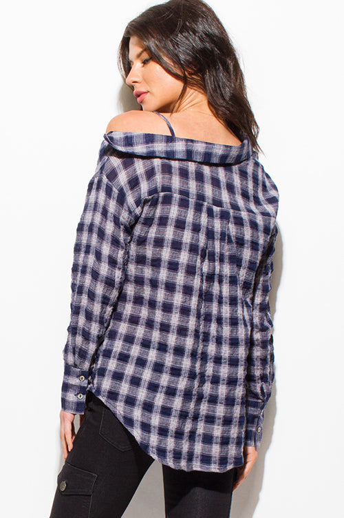 Knoxville Off Shoulder Long Sleeve Button Up Blouse Top - Navy Blue