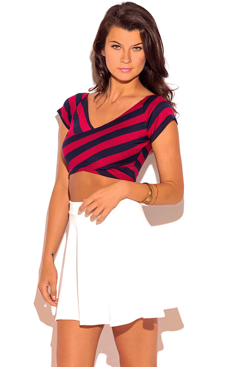 Precisely Criss Cross V Neck Fitted Tee Crop Top - Navy Blue