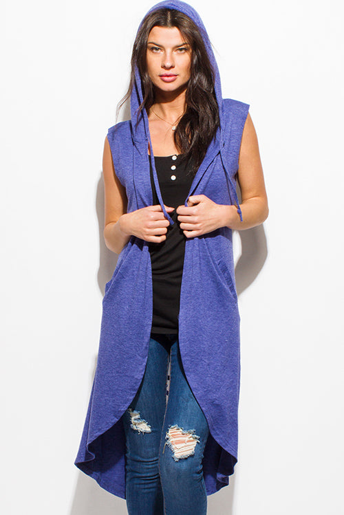 Sharkbite Distressed Hooded Open Front Duster Cardigan - Navy Blue