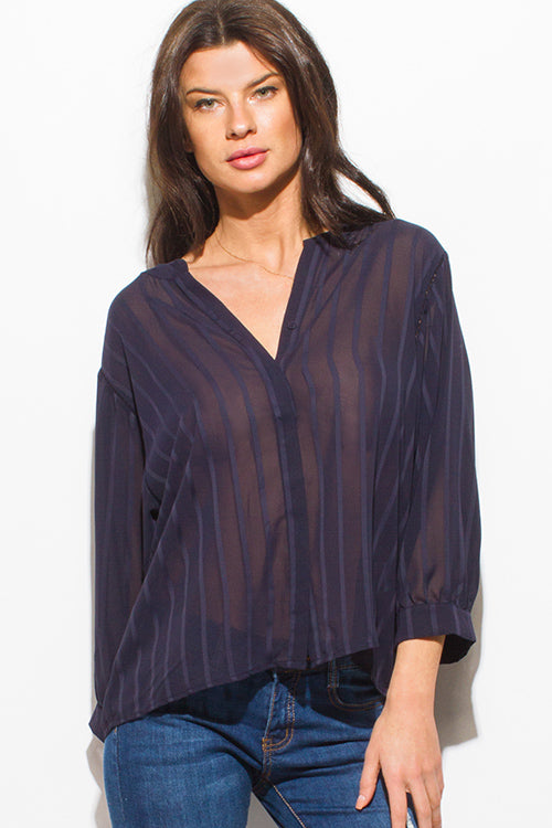 I Mean Business Indian Collar Long Sleeve Button Up Boho Blouse Top - Navy Blue