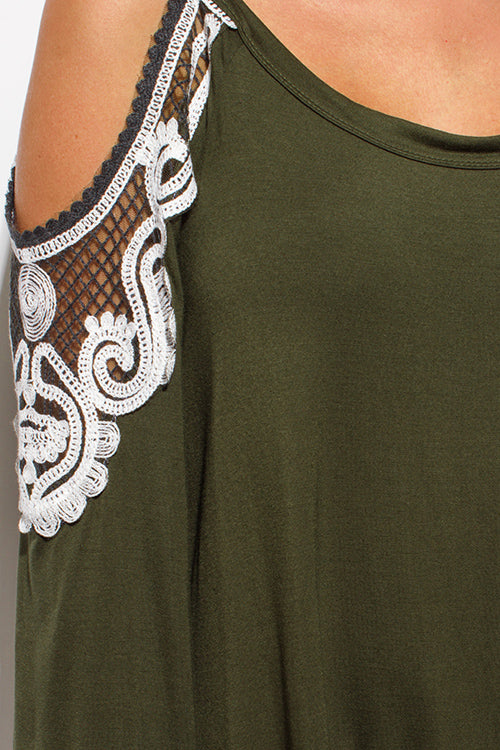Loveway Long Sleeve Lace Applique Boho Tunic Top - Olive Green