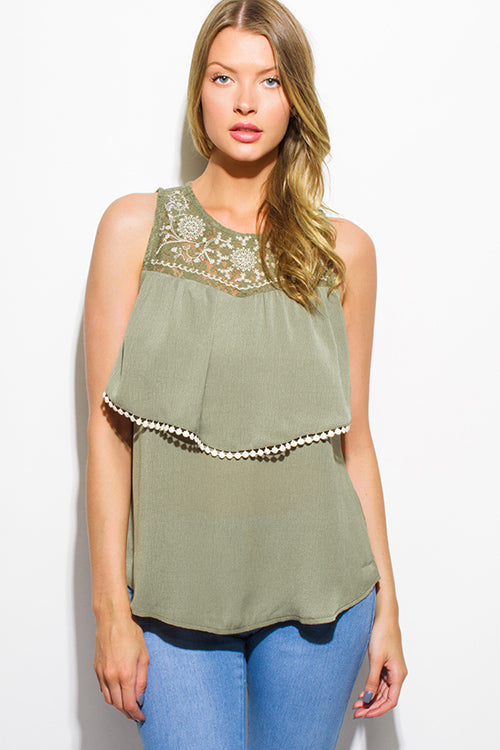 Brandy Crochet Trim Boho Blouse Tank Top - Olive Green