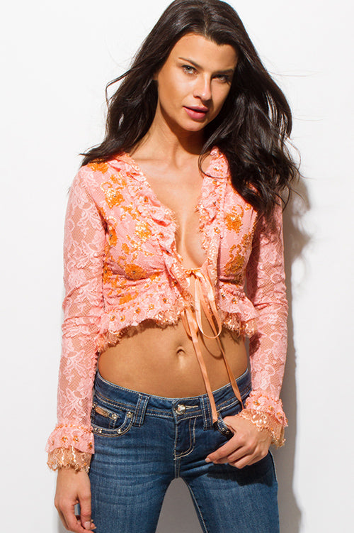 Old Flames Embellished Ruffle Long Sleeve Crop Blouse Top - Peach Orange