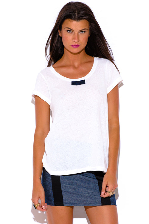 Natural Innocence Linen Preppy Tee Shirt Boxy Top - Bright White
