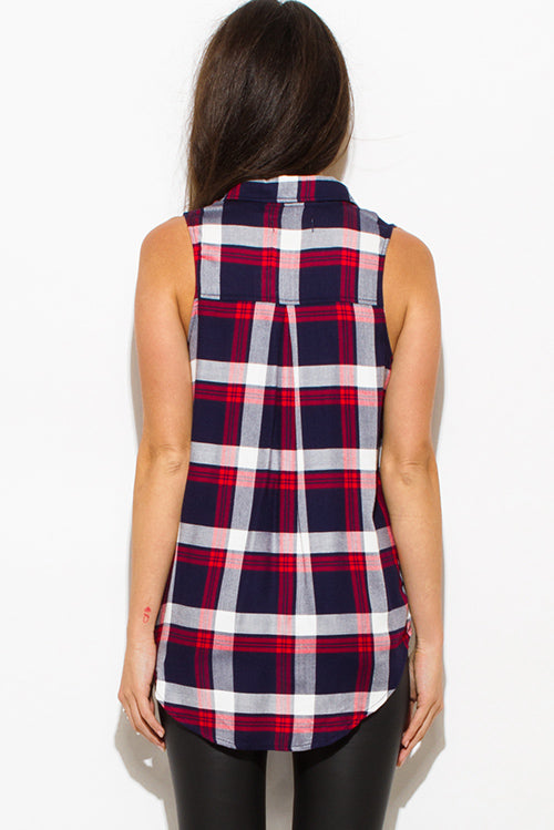 Daytripper Sleeveless Button Up Blouse Top - Red Navy Blue
