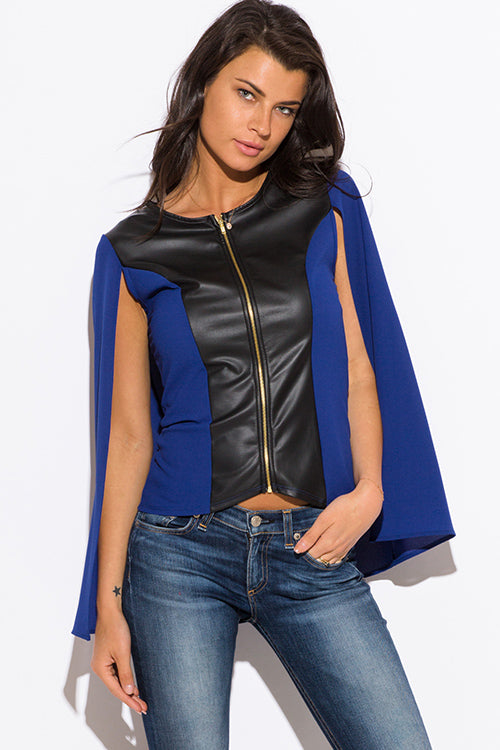 Bad Blood Faux Leather Panel Zip Up Cape Blazer Jacket - Blue