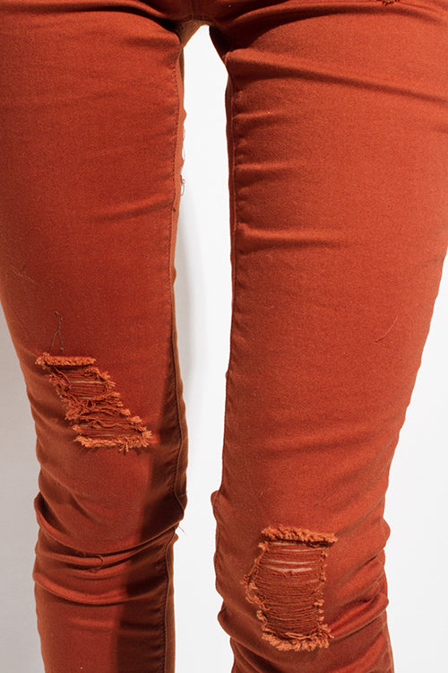 Busted Distressed Ripped Knee Skinny Jeans - Rust Brown Denim