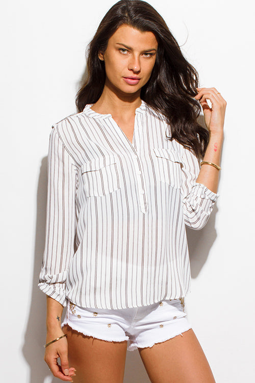 Midtown West Quarter Sleeve Collarless Button Up Blouse Top - White And Black