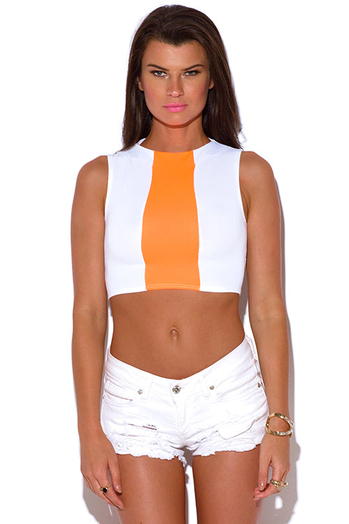 Recollections High Neck Crop Top - White And Neon Orange