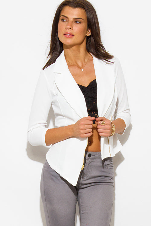 Stay True Zip Up Fitted Blazer Jacket Top - White