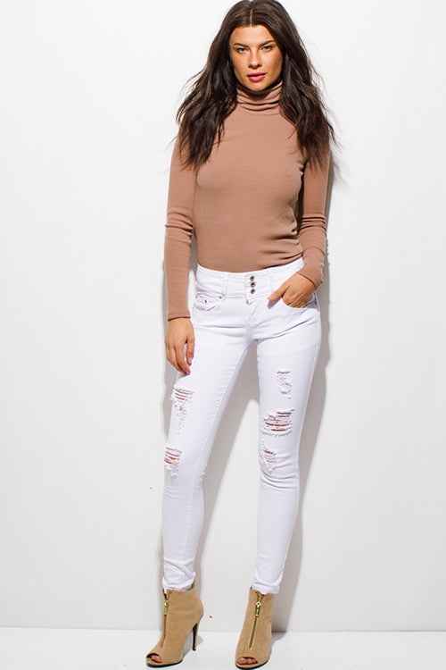 Fantasy Distressed Ripped Three Button Skinny Jeans - White Denim