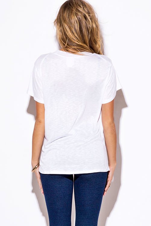 Make Out Low Neck Short Sleeve Slub Tee Shirt Top - White Low