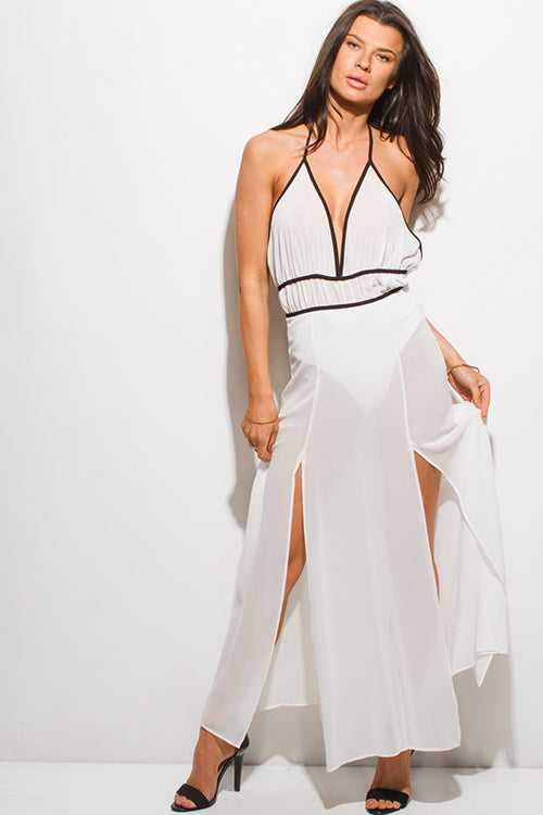 Sun Dance Double High Slit Backless Evening Maxi Dress - White Sheer