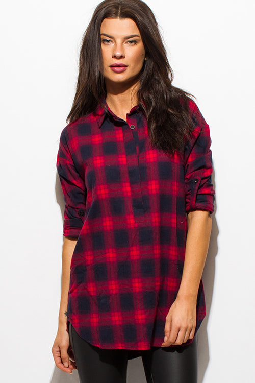 Muir Woods Long Sleeve Button Up Blouse Top - Wine Burgundy Red