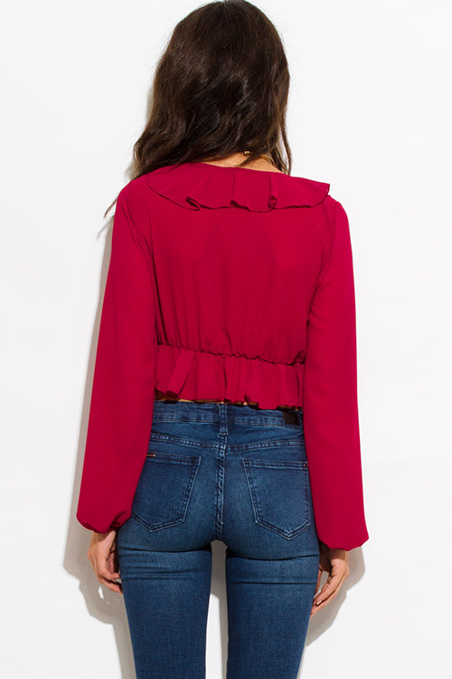Test My Limits V Neck Ruffled Blouson Sleeve Crop Blouse Top - Wine Red