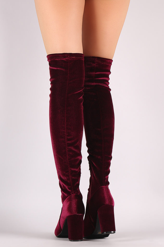 Crushed Velvet Chunky Heeled Over-The