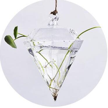 Diamond Shaped Glass Hanging Pot