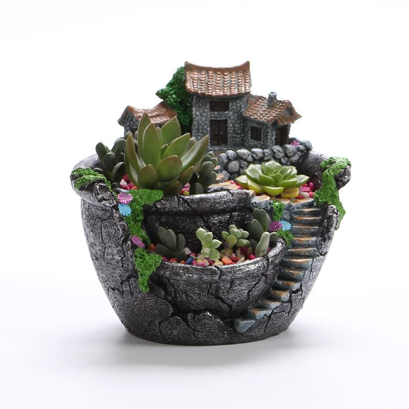 Flower Pot Fairy Garden Pot with House