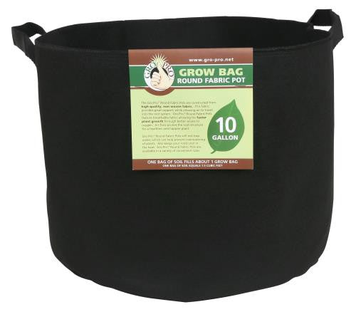 Gro Pro Premium Round Fabric Pot w/ Handles 10 Gallon - Black (70/Cs)