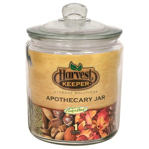Harvest Keeper Glass Storage Apothecary Jar w/ Sealed Lid - 1 Gallon (6/Cs)