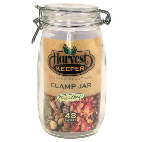 Harvest Keeper Glass Storage Jar w/ Metal Clamp Lid - 48 oz (12/Cs)