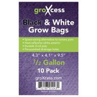 GroXcess Black & White Grow Bags, 1/2 gal, 10 Pack