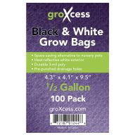 GroXcess Black & White Grow Bags, 1/2 gal, 100 Pack