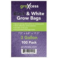 GroXcess Black & White Grow Bags, 3 gal, 100 Pack