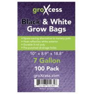 GroXcess Black & White Grow Bags, 7 gal, 100 Pack