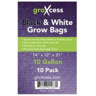 GroXcess Black & White Grow Bags, 10 gal, 10 Pack
