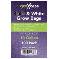GroXcess Black & White Grow Bags, 10 gal, 100 Pack