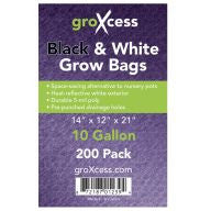 GroXcess Black & White Grow Bags, 10 gal, 200 Pack